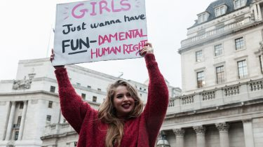 girl striking for fundamental rights